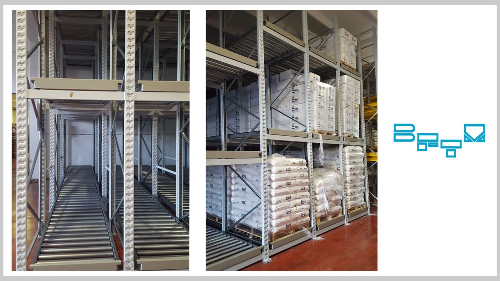 GRAVITY WAREHOUSE TO STOCK PALLET OF DIFFERENT SIZES