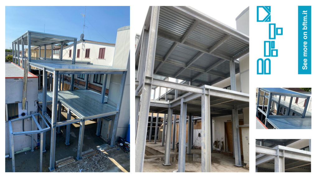 Realization of a steel building for industrial warehouse and offices
